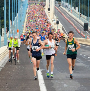 James Rodgers leading Severn Bridge Half Marathon